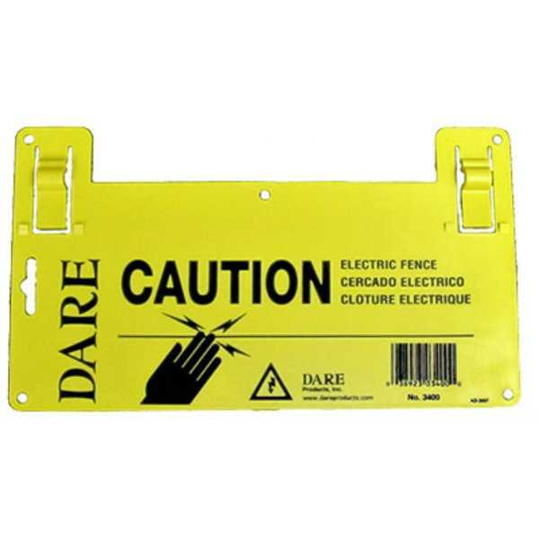 Dare 3400 Large Electric Fence Caution Warning Sign, 5.5' x 9', Black On Yellow
