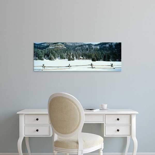 Easy Art Prints Panoramic Images's 'USA, Montana, fence, cabin, snow, winter' Premium Canvas Art