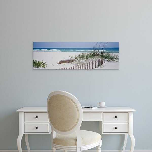 Easy Art Prints Panoramic Images's 'Fence on the beach, Alabama, Gulf of Mexico, USA' Premium Canvas Art