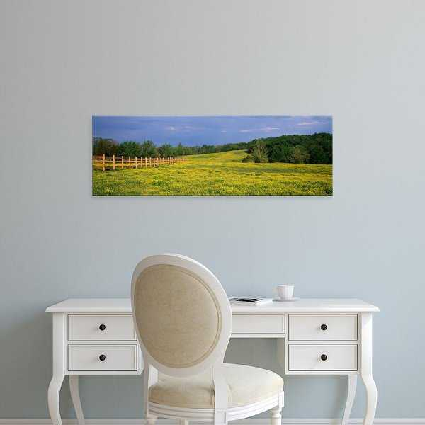 Easy Art Prints Panoramic Images's 'Fence in a field, Ozark, Johnson County, Illinois, USA' Premium Canvas Art