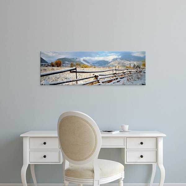 Easy Art Prints Panoramic Images's 'Wooden fence covered with snow at the countryside, Colorado, USA' Canvas Art