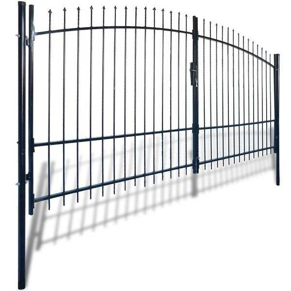 vidaXL Double Door Fence Gate with Spear Top 13' x 8'